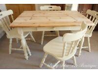 Cream Farmhouse Table Chair Dining Set Vintage Shabby Chic