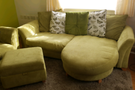4 seat lounger, 2 seater sofa bed, accent chair & storage footstool