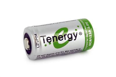 Tenergy RCR123A 3.0V (3.2V Nominal) 400mAh LiFePO4 Rechargeable Battery