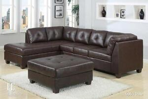 NEW YEARS  SPECIALS ON NOW 3PCS BONDED LEATHER SECTIONAL WITH FREE STORAGE OTTOMAN $499 LOWEST PRICES GUARANTEED