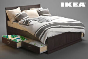 Ikea Fjell King Size Bed Frame with Storage Drawers