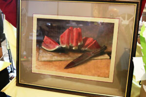 GS  ORIGINAL  ART VICTORIA L KNORR STILL LIFE WATERMELON 200.00