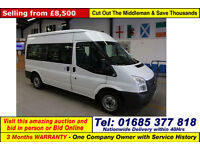 2013 - 13 - FORD TRANSIT T300 2.2TDCI 125PS FWD 9 SEAT SHUTTLE BUS (GUIDE PRICE)