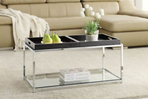 Glass coffee table with removable trays