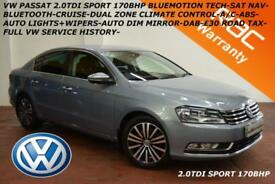 2012 Volkswagen Passat 2.0TDI(170ps)BlueMotion Tech Sport-NAV-£30 TAX-F.V.W.S.H.