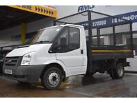 2008 58 FORD TRANSIT 2.4TDCi 350 MWB SINGLE CAB TIPPER WITH HIGH CAGE