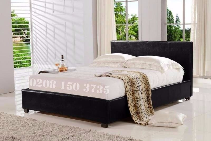 """❋ FAST DELIVERY BRAND NEW IN BOX ❋ DOUBLE LEATHER BED FRAME WITH 9"""" DEEP QUILTED MATTRESS"""
