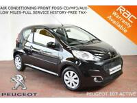 NOV 2013 Peugeot 107 1.0 12v Active-AIR CON-LOW MILES-FULL SERVICE HISTORY-