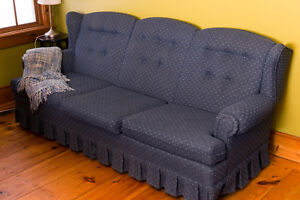 Used couch, blue fabric upholstery, sofa.Great condition