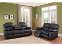 LIMITED OFFER !! 3+2 LEATHER RECLINER SOFA SUITE CUPHOLDER BLACK AND BROWN