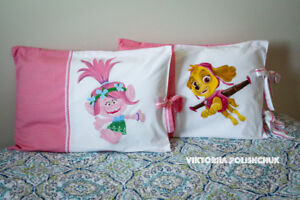 Handmade and hand painted pillow case