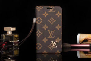 IPHONE X & 7/8 plus FLIP LV_LEATHER LUXURY WALLET CARD CASE