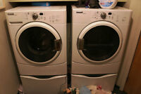 MAYTAG EPIC Z FRONT LOAD WASHER AND DRYER WHITE with stands