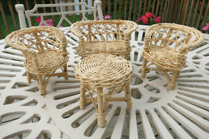 Vintage – 4 piece Wicker Doll Furniture – 1960's – Excellent