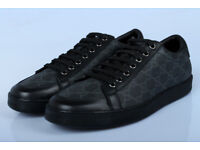 Gucci black leather and Canvas trainers in size 9