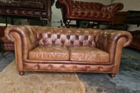 Tan Halo Chesterfield 2 Seater Sofa
