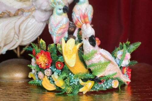 ZIBELLINI Art Jewelry Parrot Banana Hand Painted Unusual Crown