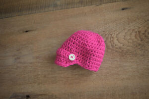 Newborn Photography Props Pink Newsies Hat Hand Crocheted