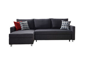 Fabric Sectional L Shape Sofa Bed with storage