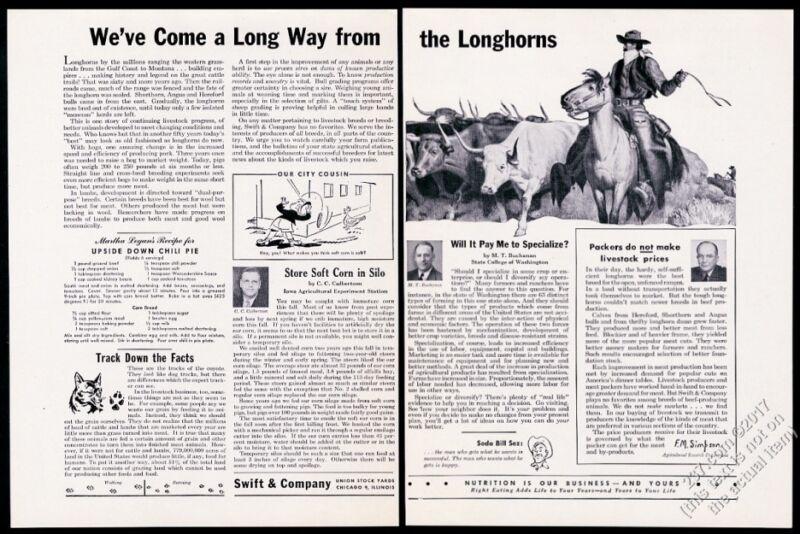 1947 longhorn cattle drive cowboy horse art Swift & Company vintage print ad