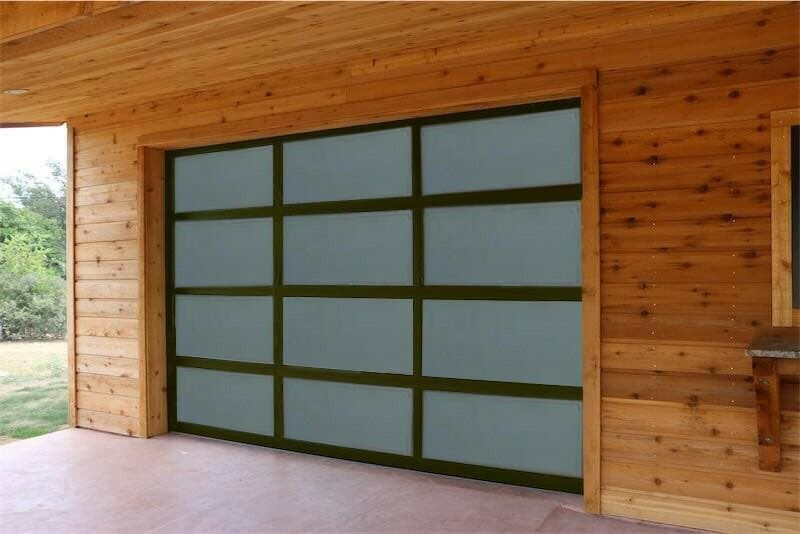 Full View Garage Door 8 ft By 8 ft Anodized Black Frame With Frosted Glass