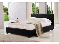 🌷💚🌷BRAND NEW🌷💚🌷DOUBLE 4FT6 & KING SIZE 5FT LEATHER BED FRAME + SEMI ORTHOPEDIC MATTRESS