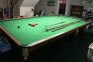 REDUCED ANTIQUE SNOOKER POOL TABLE 1914 BRUNSWICK 2 INCH SLATE