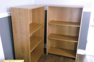 2 Oak Veneer Book Cases
