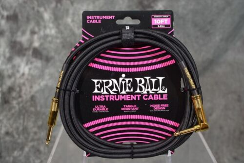 Ernie Ball 10FT Black Right Angle Braided Instrument Guitar Cable  FREE SHIPPING
