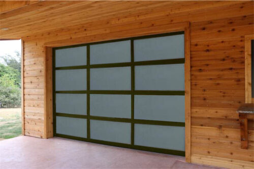 Full View Garage Door 8 ft By 8 ft Anodized Bronze Frame With Frosted Glass