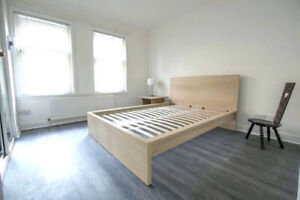Double bed frame, clean birch finish