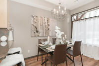 Modern Glass and Wood Base Dining Table-Used for Staging