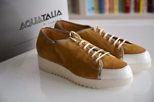 Made in Italy AQUATALIA Women's Suede Brown Sneakers