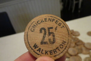 Collectible Wood Walkerton Chickenfest Tokens -Awesome Nostalgia Kitchener / Waterloo Kitchener Area image 3