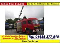 1995 - M - MERCEDES 1124 AF 4X4 13.5TON CREW CAB FIRE TENDER C/W HIAB CRANE