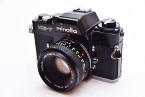 Classic Minolta XE7 Black 35mm SLR with 50mm and 100-200mm Zoom