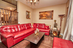 Genuine Red Leather Sectional with Ottoman $1250 OBO