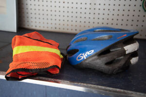 Bicycle helmet and reflective vest