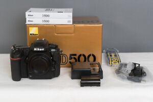 mint nikon D500 body in box with all accessories (16k clicks)