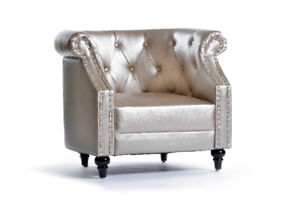 Club Accent Studded Chair Champagne  - Set of 2