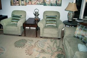 Victorian Club Style Sofa and Arm Chairs
