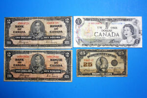 Four Old Canadian Banknotes