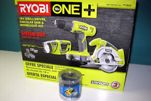 RYOBI ONE+ 3-PC KIT 18V - Drill, Saw, Light, Battery, Charger, +
