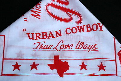 "GILLEY'S TX Vtg Red on White Mickey Gilley Bandana Urban Cowboy LG 21"" across"
