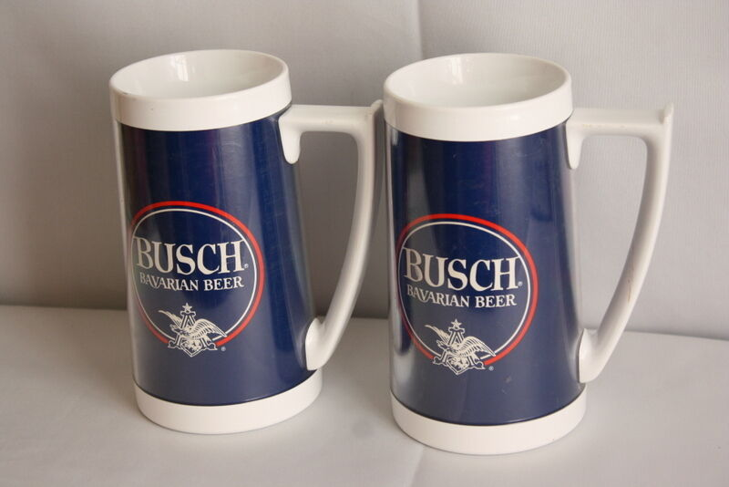 Two Vintage BUSCH Bavarian Beer Thermo - Serv Mugs Steins