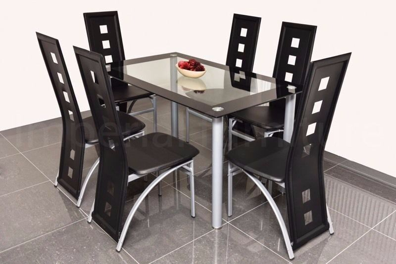 Superb MODERN GLASS DINING TABLE AND CHAIRS SET   SQUARE CUT OUTS BARGAIN PRICE  CLEARANCE ON SETS