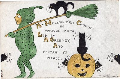 HALLOWEEN POSTCARD, PUBLISHED BY SANDFORD CARD Co, SIGNED M.E.S. NUMBER 406