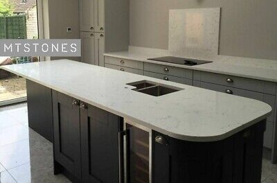 WHITE MARBLE EFFECT GREY VEINS QUARTZ KITCHEN WORKTOP SAMPLE I ALL COLOURS