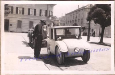 1920s Man at Curb Side w/ 1925-28 Hanomag 2 10 PS Limousine Mini Car Photo