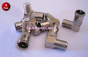 6 x F type Push On Right Angle Quick Coax Coaxial Male-Female Connector Adapter